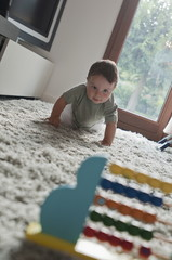 Baby boy crawling toward abacus