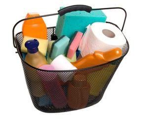 basket full of plastic bottles for cleaning supplies