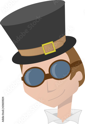 Steampunk Man Head Portrait Smiling