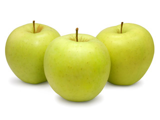 Three yellow-green apples