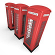 Three British phone booths