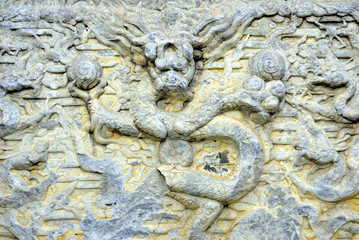 Beijing, Dongyue temple.  Stone courtyard dragon.