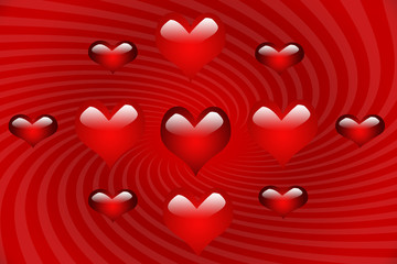 Mulitiple Hearts on Red Spiral