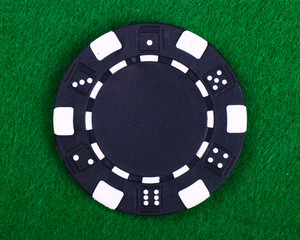 poker chip on green