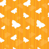 Butterflies on Orange Stripes Seamless Tile