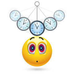 Smiley ball being hypnotized with clock