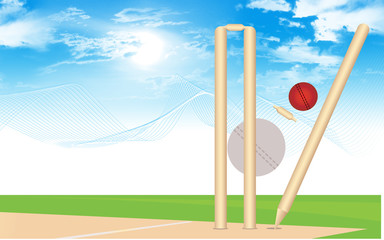 A cricket ball is hitting the stumps