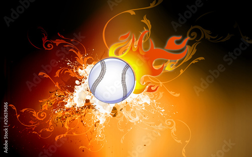 Tennis ball with tail of fire on the move