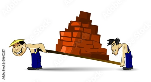 Two Chinese porters carrying bricks