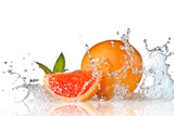 Fototapety Water splash on grapefruit with mint isolated on white