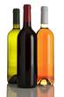 rotwein, rosewein, weißwein flaschen isoliert