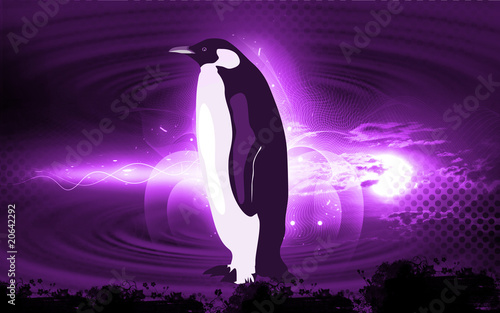 Illustration of a penguin walking in a icy area