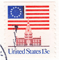 stamp shows USA Flag Over Independence Hall