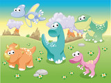Fototapety Dinosaurs Family with background, vector illustration.