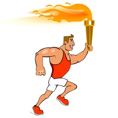 Male runner with torch