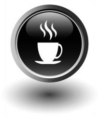 Black coffee icon - web button, vector