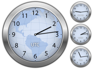 Business illustration with clocks showing time in New York, Lond