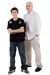 young teenager with his grandfather, full length