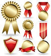 Set of shiny red and gold award ribbons