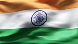Creased Indian flag in wind in slow motion poster