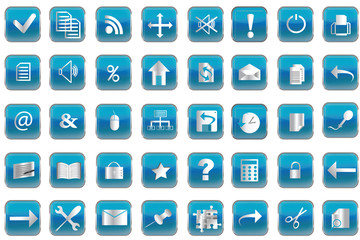 Blue buttons with icons for pc
