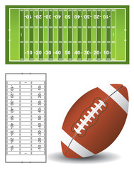 American football pitch and ball