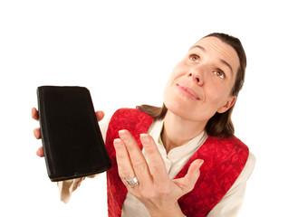 Funny female pastor praying to God