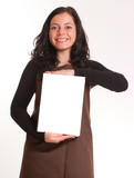 Brunette in brown apron holding a white box poster
