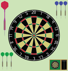 Dartboard with case and darts individually layered