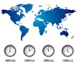 World map and time zone clocks