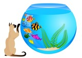 cartoon cat with little colorful tropical fish in aquarium