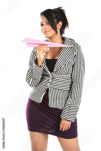 woman with paper rocket