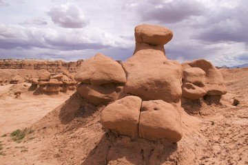 Unusual sandstone formations of Goblin Valley State Park, Utah