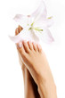 Beautiful healthy female feet with lily flowers