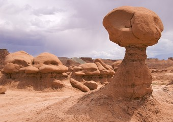 Sandstone formation resembling ET, Goblin Valley