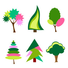 cartoon,colorful trees