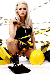 Sexy blonde female construction worker