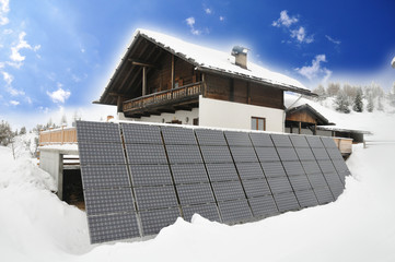 Mountain cottage with solar panels