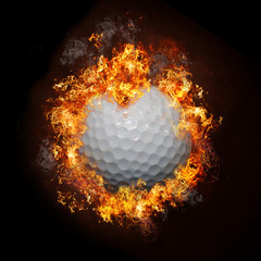 Golf Ball in Flames