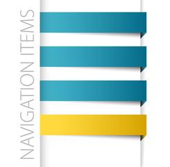 Modern blue navigation items