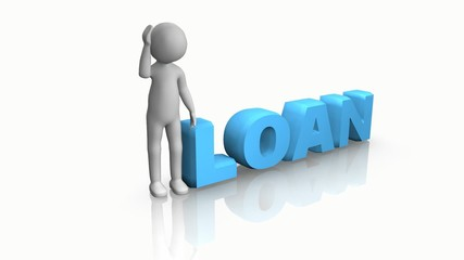 3D man sitting on the word loan against a white background