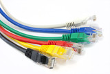close up ethernet network cables poster