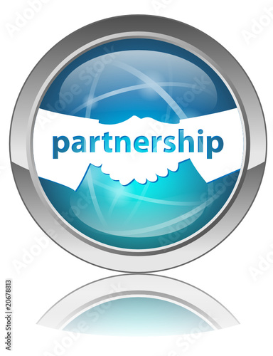 PARTNERSHIP Button (Handshake Contract Signature Deal Business)