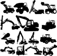 vector excavator silhouette set