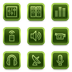 Media web icons, green square buttons series