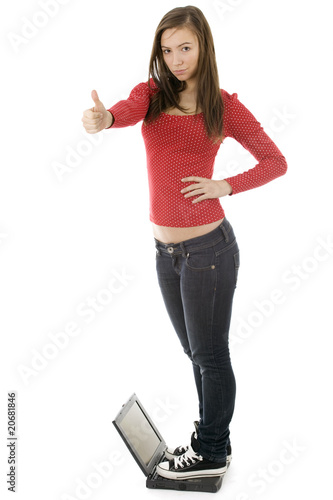 young woman  thumb up