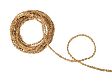 Natural coarse fiber rope coil isolated on white