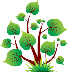 Green tree icon with leaf isolated