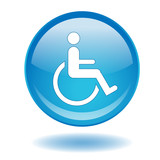 Round web button with Disability symbol (disabled access sign) poster