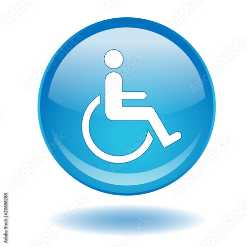 Round web button with Disability symbol (disabled access sign)
